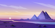 Egypt Pyramids And Nile River In Dusk Desert, Egyptian Pharaoh Tomb Complex In Giza Plateau Illuminated With Sunset Light Under Purple Sky. Cartoon Vector Ancient Famous Touristic African Landmark