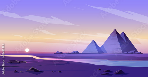 Fototapeta Egypt pyramids and Nile river in dusk desert, egyptian pharaoh tomb complex in Giza plateau illuminated with sunset light under purple sky. Cartoon vector ancient famous touristic african landmark obraz