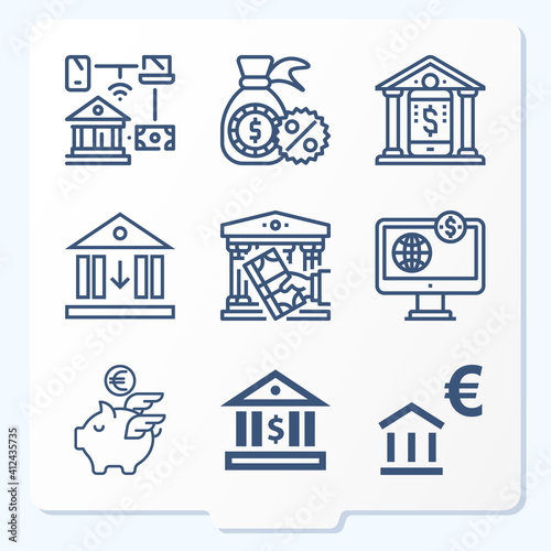Fototapeta Simple set of 9 icons related to bankers