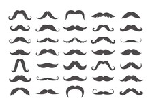 Varieties Of Retro Mustache Set. Black Imperial Facial Hair Curly Horseshoe Pencil English Pyramid Italian And Vintage Narrow French Walrus Brush Male Hipster Modern Fashion. Collection Vector.
