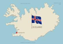 Iceland Highly Detailed Map With Territory Borders, European Country Political Map With Reykjavik Capital City And Waving National Flag Vector Illustration