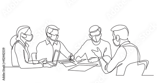Obraz continuous line drawing of office workers at business meeting wearing face masks - fototapety do salonu