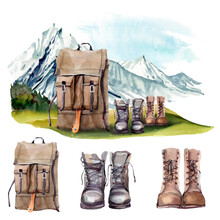 Watercolor Mountain Lifestyle Illustrations Set.