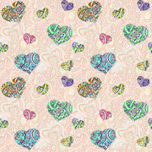Seamless Pink Wallpaper With Decorative Lace Hearts On Ornamental Background, Oriental Ornament