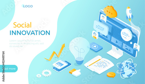 Fototapeta Social Innovation, Сommunication, Strategy, Technology, Innovative Approaches. Sharing ideas, experiences and knowledge. Isometric vector illustration for website. obraz