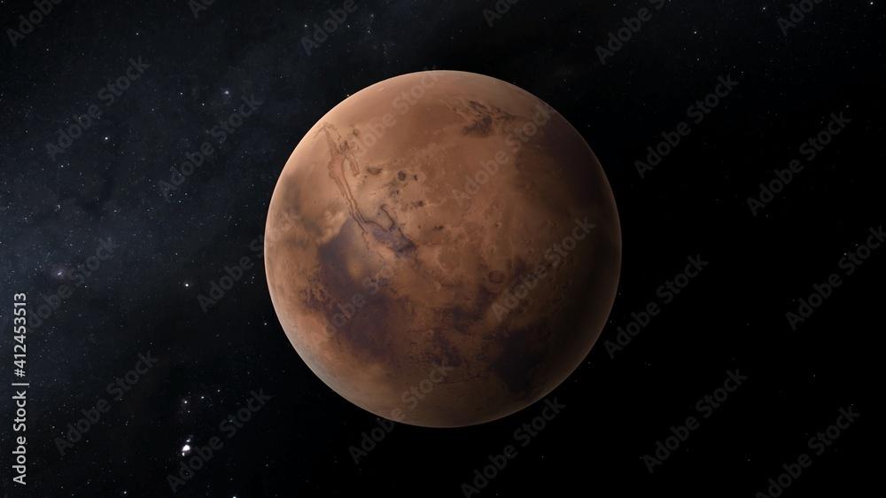 Fototapeta planet Mars, red planet Mars, Mars in the solar system 3d render