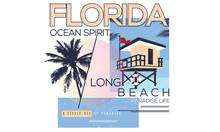 Florida Ocean Spirit Long Beach Illustration Print Design For Apparel And Others