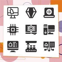 Simple Set Of 9 Icons Related To Computerized