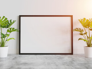 Fototapeta na wymiar Black frame leaning on floor in interior mockup. Template of a picture framed on a wall 3D rendering