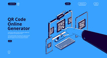 QR Code Online Generator. Mobile App, Digital Service For Generate Qrcode For Electronic Payments, Identification And Display Information. Vector Landing Page With Isometric Devices And Pointing Hand
