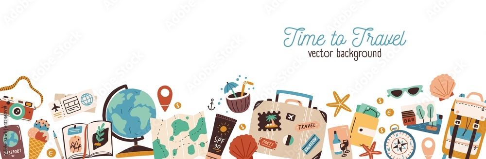 Fototapeta Banner with traveling and tourism elements. Colorful touristic objects like backpack, suitcase, map and globe and place for text. Summer holiday background. Colored flat vector illustration