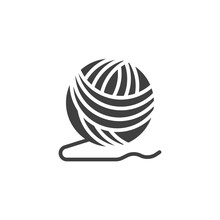Ball Of Yarn Vector Icon. Filled Flat Sign For Mobile Concept And Web Design. Woolen Knitting Thread Ball Glyph Icon. Symbol, Logo Illustration. Vector Graphics