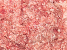 Raw Minced Meat Texture Background. Chopped Meat Background.  Fresh Raw Ground Pork Heap. Top View.