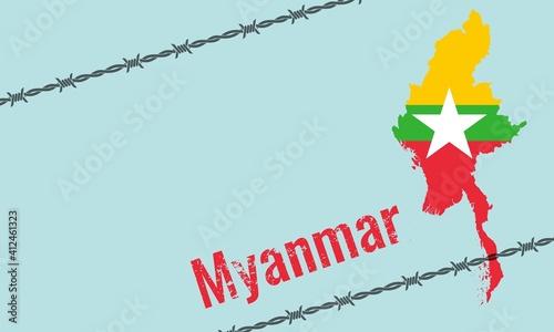 Obraz na plátně Vector illustration of Myanmar political crisis concept