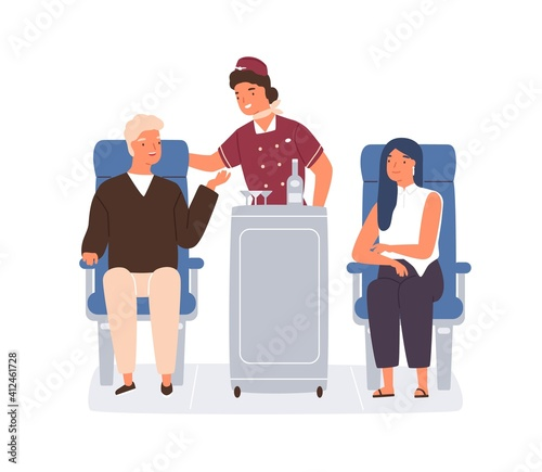 Fototapeta Friendly stewardess rolling trolley and serving passengers in plane. Man ordering drinks and food from flight attendant in aircraft. Colored flat vector illustration isolated on white background obraz