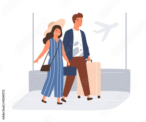Fototapeta Happy couple with suitcases and baggage in airport. Young man and woman going to travel on summer holiday. Colored flat vector illustration isolated on white background obraz
