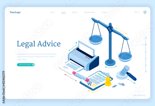 Canvas Print Legal advice isometric landing page