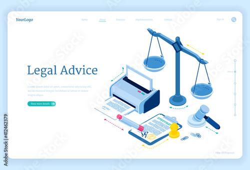 Photo Legal advice isometric landing page