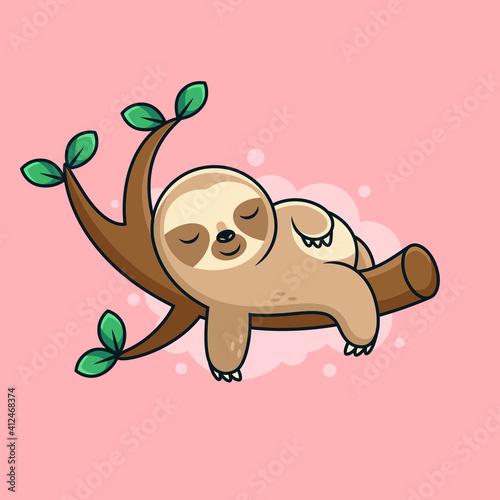 Fototapeta premium Cute Sleep Sloth Cartoon with Cute Pose. Cartoon Vector Icon Illustration. Animal Icon Concept on Pink Background