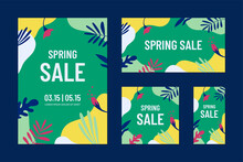 Spring Sale Concept. Web Banners Tand Posters Templates Set With Floral Elements And Abstract Shapes In Bright Colors.