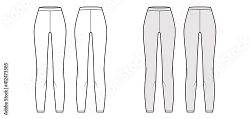 Obraz Leggings knit pants technical fashion illustration with normal waist, high rise, full length. Flat sport training, casual apparel template front, back, white grey color. Women men unisex CAD mockup - fototapety do salonu