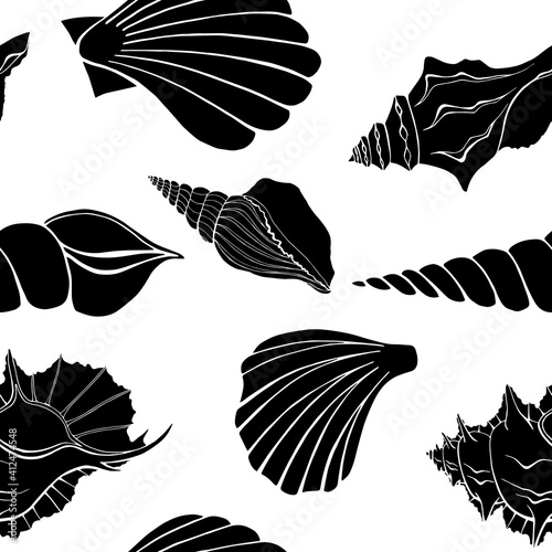 Fotografering Modern flat outline sea shells, bubbles seamless pattern for fabric, textile, apparel, interior, stationery, wrapping paper, scrapbooking