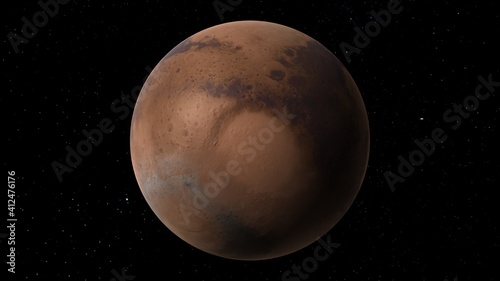 Canvas planet Mars, red planet Mars, Mars in the solar system 3d render