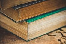 Stack Of Books On Tree Stump