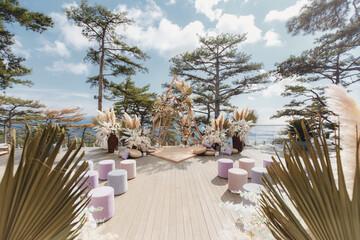 Luxurious wedding ceremony in boho style
