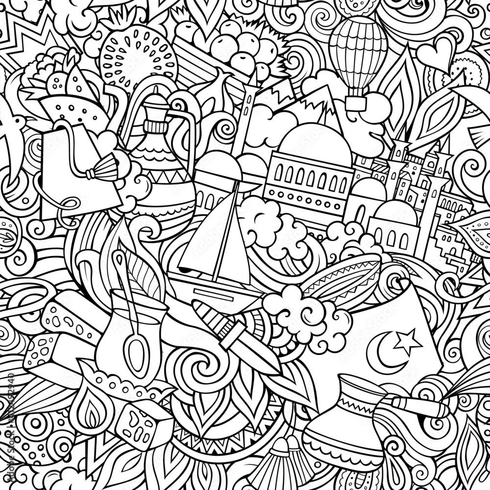 Fototapeta Cartoon doodles Turkey seamless pattern.