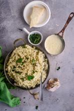 Alfredo Pasta Sauce With Garlic And Parmesan .selective Focus