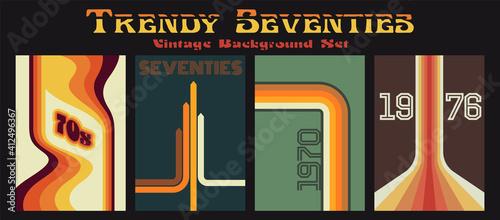 Canvas Print 1970s Backgrounds, Cover, Poster Templates, Vintage Color Lines