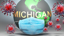 Michigan And Covid - Earth Globe Protected With A Blue Mask Against Attacking Corona Viruses To Show The Relation Between Michigan And Current Events, 3d Illustration