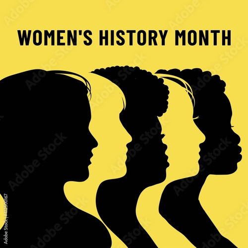 Obraz Womens History Month. Women's day. Poster with different women. 8 march - fototapety do salonu