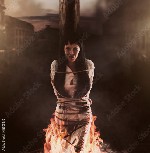 Slika na platnu Medieval witch is tied and burns at the stake