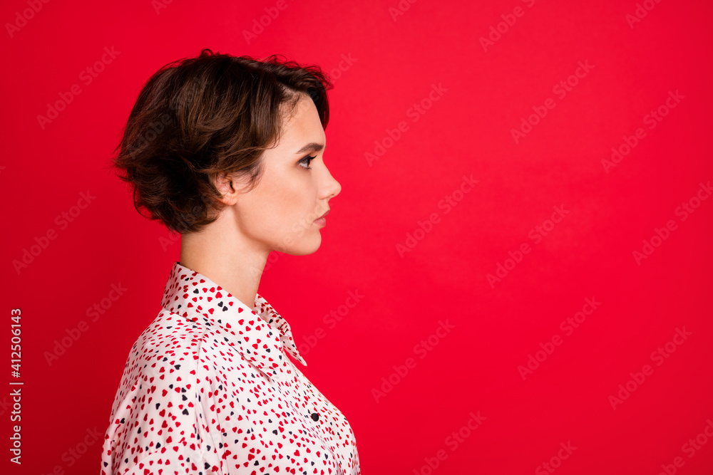 Fototapeta Profile side view portrait of lovely serious content brown-haired girl copy space ad isolated over bright red color background
