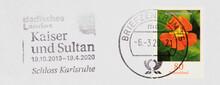 Briefmarke Stamp Gestempelt Cancel Frankiert Used Vintage Retro Kapuzinerkresse Orange Slogan Werbung Badisches Landes Kaiser Sultan Schloss Karlsrühe 2020 Blume Flower 80