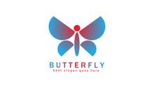 Letter I Geometric Butterfly Gradient Logo Design Vector