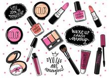 Hand Drawn Cosmetics Set. Nail Polish, Mascara, Lipstick, Eye Shadows, Brush, Powder, Lip Gloss, Handwritten Lettering