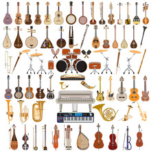 Vector Big Set Of Musical Instruments Isolated On White Background. Flat Style Design.