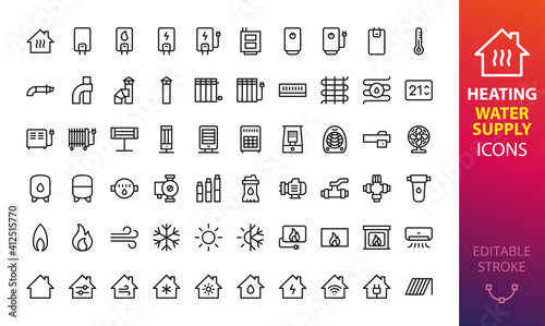 Fotografia, Obraz Home heating, cooling and water supply system isolated icon set