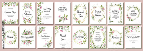 Canvas botanic card with wild flowers, leaves