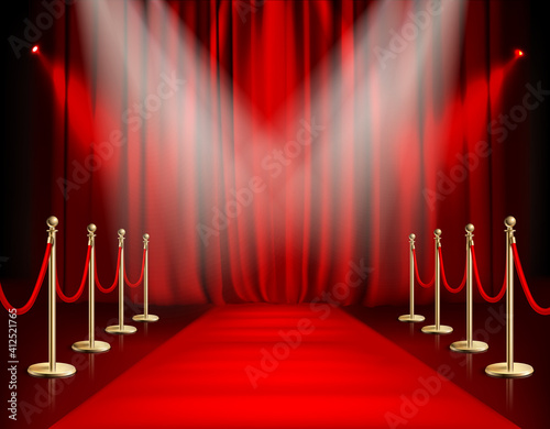 Slika na platnu Awards show red background with carpet path golden barrier with rope on both sid