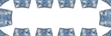Waist And Front Pockets Area Of Fourteen Pairs Of Light Blue Jeans Isolated On White Background. Faded With White Spots. Banner Size. Copy Space In The Middle. Clothing, Online Store Concepts