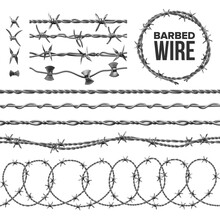 Barb Wire Collection With Razor Detail Set Vector. Modern Metallic Fencing Wire Chainlink With Sharp Elements For Area Protection. Industrial Barbwire Seamless Pattern Realistic 3d Illustration