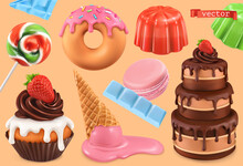 Sweet Set. 3d Vector Realistic Objects. Cupcake, Cake, Donuts, Jelly, Ice Cream, Candy. Food Icons