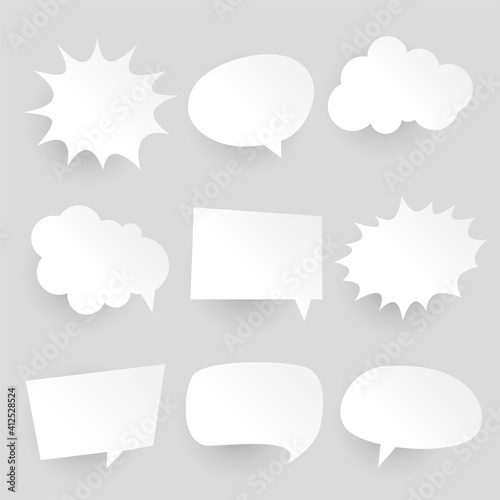 papercut style comic chat bubbles and expressions Fototapet