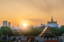 The Golden Mount Pagoda Or Phu Khao Thong At Wat Saket Temple, During Sunrise Morning, Bangkok, Thailand