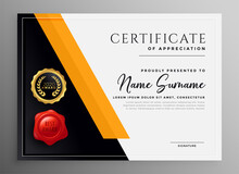 Certificate Of Appreciation Yelllow Professional Template Design