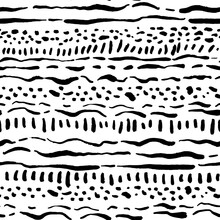 Stripes And Dots Vector Seamless Pattern. Hand Drawn Abstract Seamless Background. Ink Drawing.